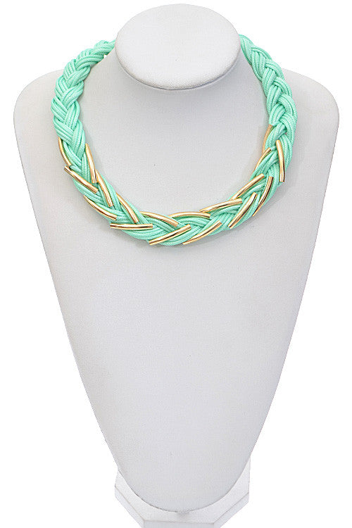 Golden Bar Neon Mint Detailed Tied Necklace