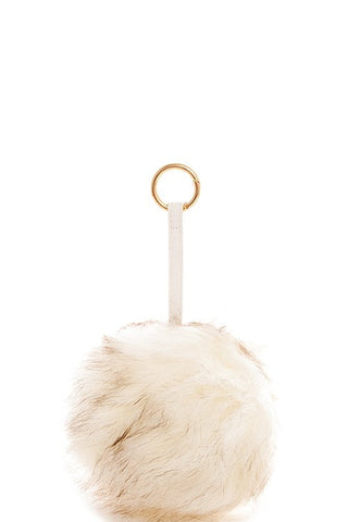 Large White Pompom Gold Key Chain