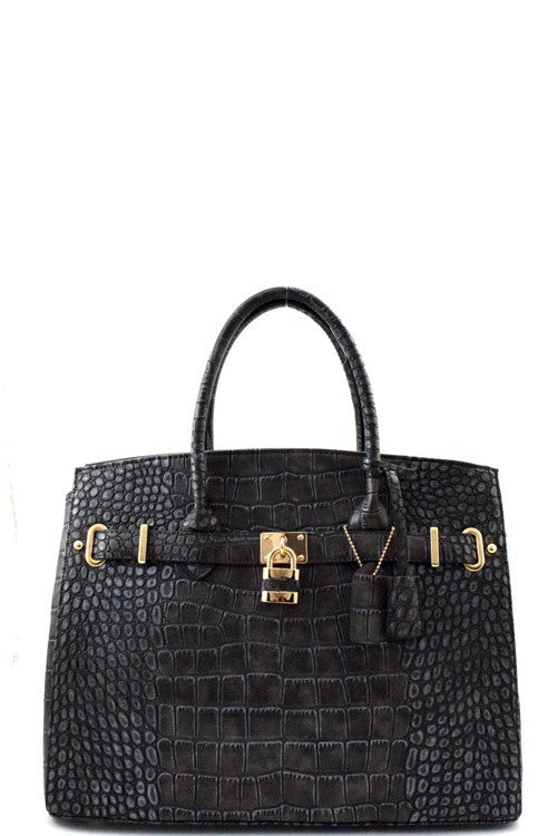 Elegant Animal Print Black Padlock Top Handle Tote Bag