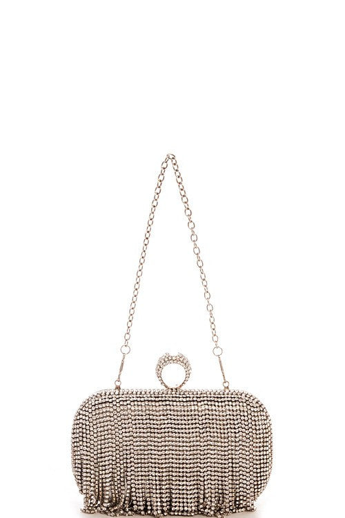 Cocktail Silver Crystal Clutch