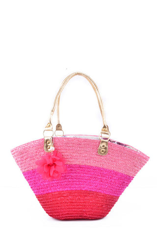 Neon Pink Straw Tote Bag Summer
