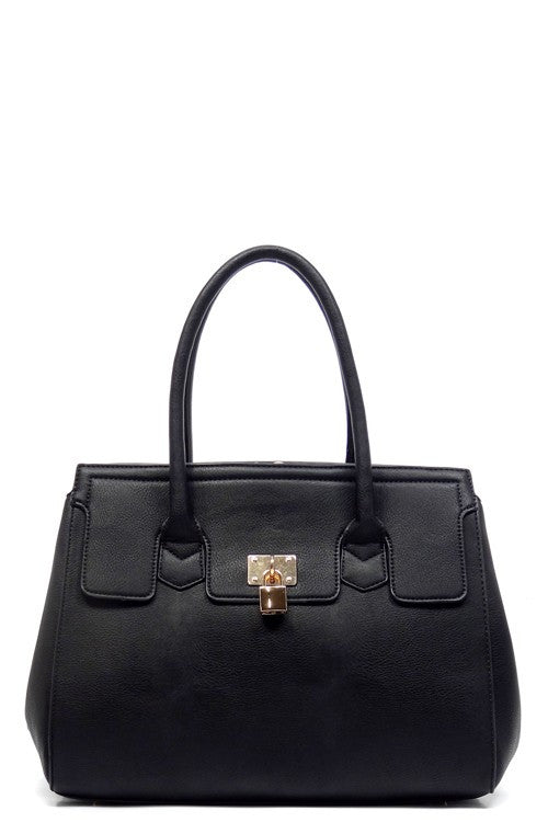 Fashion Black Padlock Top Handle Tote Bag