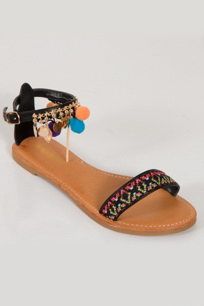 Summer Fashion Pom Pom Black Sandal