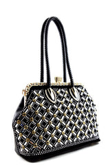 Cocktail Rhinestone Black Gold Frame Clutch
