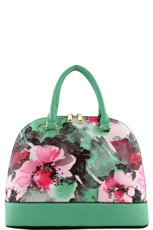 Elegant Green Floral Watercolor Tote Bag Set