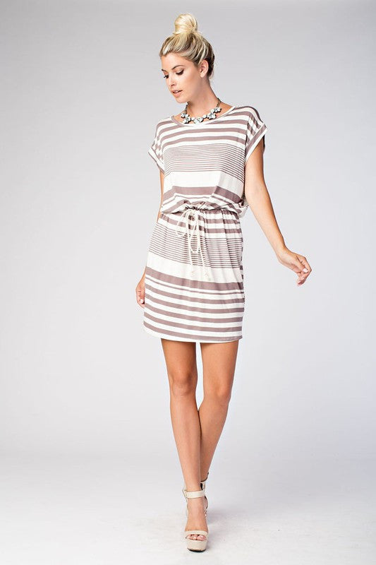 Casual Mocha Striped Summer Dress