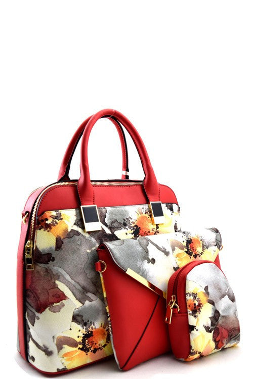Elegant Red Floral Watercolor Set Bag