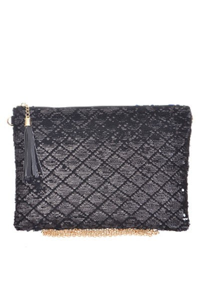 Fashion Sequence Geometric Black Clutch