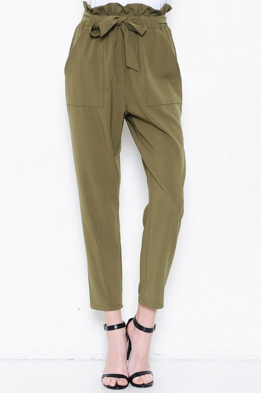 Elegant High Waisted Olive Pants