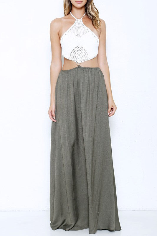Summer White Crochet Top Olive Maxi Dress