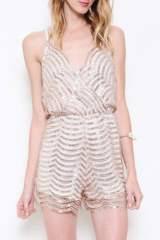 Elegant Cocktail Rose Gold Romper