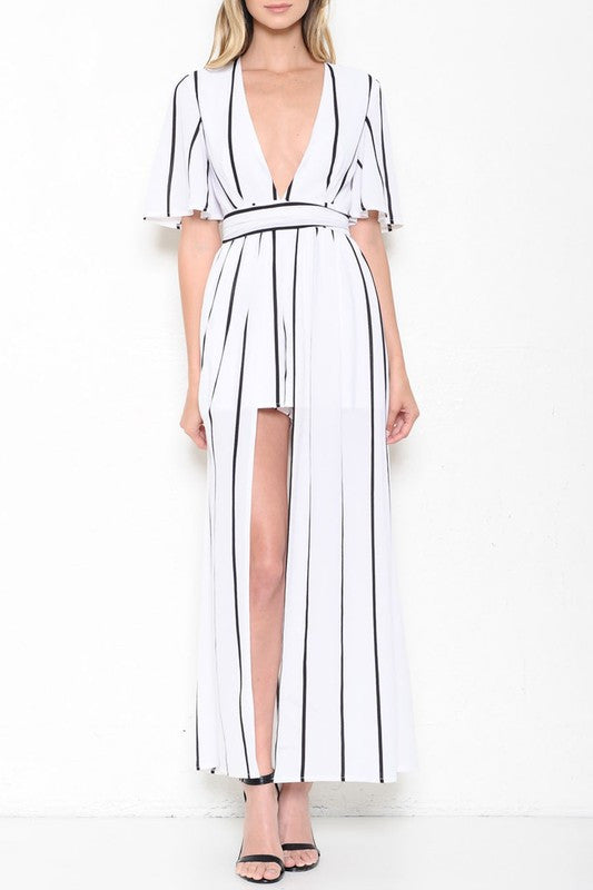 Elegant Black Stripe Open Back White Maxi Romper