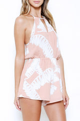 Pink Summer Romper with Tropical Print
