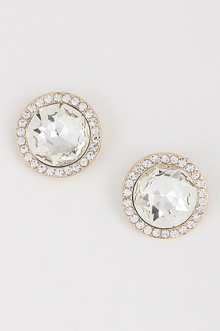Elegant Gold Circle Rhinestone Stud Earrings