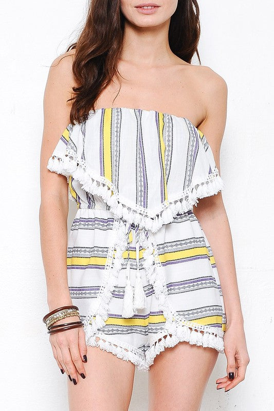 Summer Multi-Color Strapless Romper with Tassel