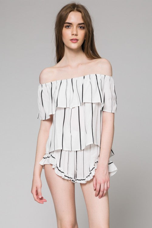 Fashion Off Shoulder White Contrast Top