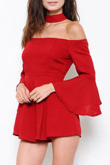 Elegant Red Chocker Romper with Flare Bell Sleeve