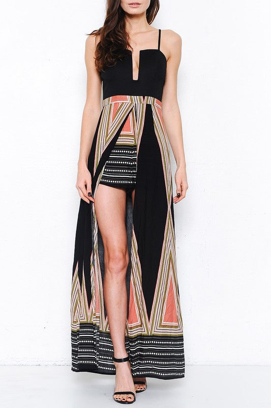 Elegant Black Stripe Multi-Color Maxi Romper