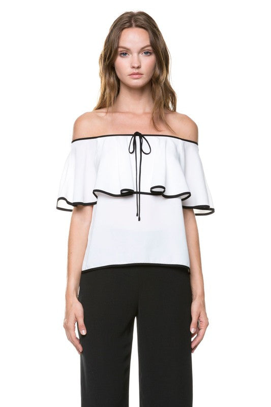 Elegant Contrast Border Off The Shoulder Top