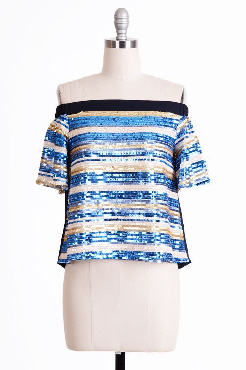Fashion Off Shoulder Blue Sequence Top
