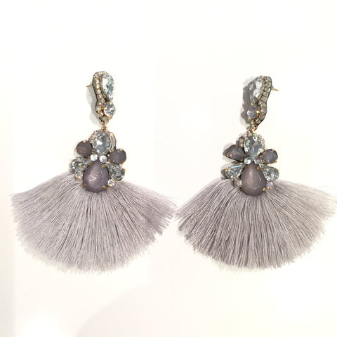 Fashion Grey Tassel Designer Long Fringe Grey and Silver Crystal Earrings