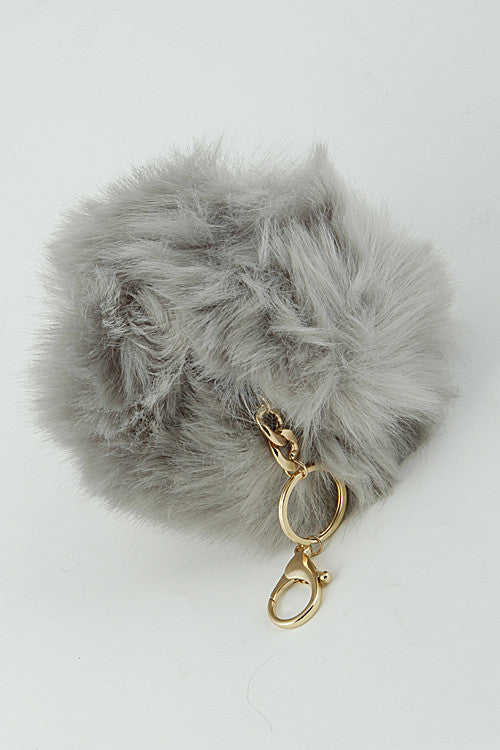 Grey Mink Pom Pom Gold Key Chain