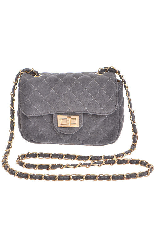 Fashion Grey Clutch with Quilted Detail