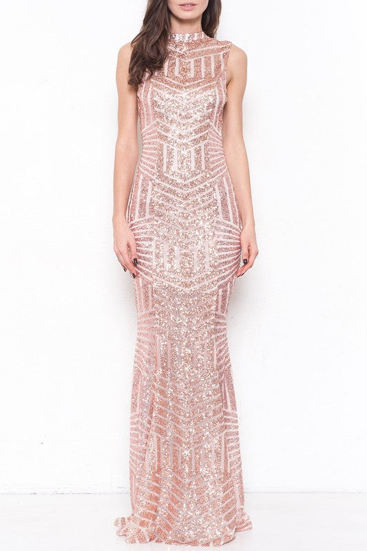 Elegant Open Back Cocktail Sequence Rose Gold Gown