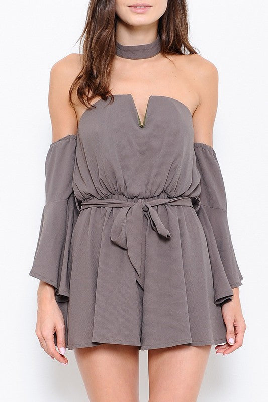 Elegant Off Shoulder Bell Sleeve Olive Romper