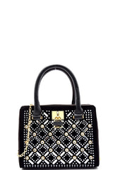 Cocktail Rhinestone Gold Frame Black Satchel Mini Bag