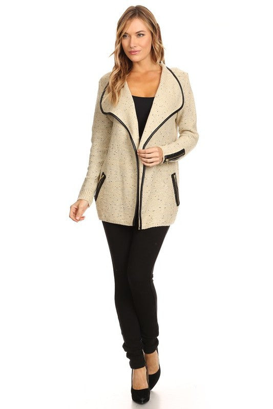 Glitter Textured Beige Cardigan with Zipper Detailed