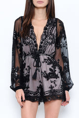 Elegant Black Sequence Long Sleeve Romper