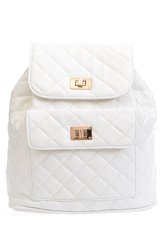 Elegant White Gold Quilted Backpack