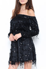 Elegant Black Rain Off Shoulder Dress