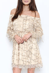 Elegant Gold Rain Off Shoulder Dress