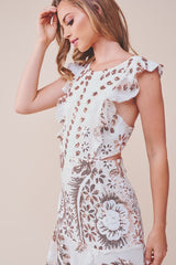 Elegant White Gold Floral Sequence Ruffle Dress