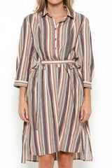 Elegant Multi-Color Striped Beige Shirt Dress