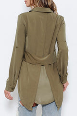 Fashion Olive Back Split Blouse