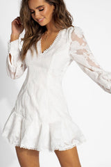 Fashion White Floral Lace Puffy Ruffle Tassel Dress with Long Sleeve