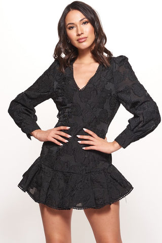 Fashion Black Floral Lace Puffy Ruffle Tassel Dress with Long Sleeve