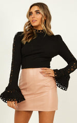 Elegant Black Lace Detailed Crop Top Back Tie-Up with Bell Sleeve