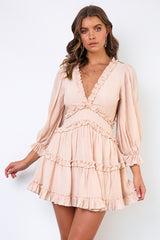 Fashion Beige V-Neck Ruffle Dress
