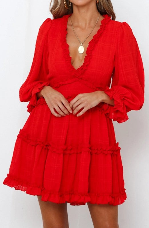 Fashion Red Detailed Print V-Neck Ruffle Dress