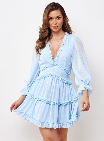 Fashion Baby Blue Detailed Textured V-Neck Ruffle Dress
