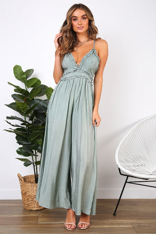 Fashion Strap Ruffle Olive Summer Jumpsuit