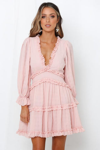Fashion Light Pink Detailed Print V-Neck Ruffle Dress