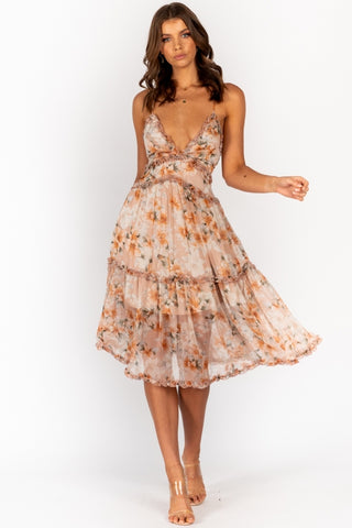 Fashion Strap Nude Multi-Color Floral Print V-Neck Ruffle Summer Dress