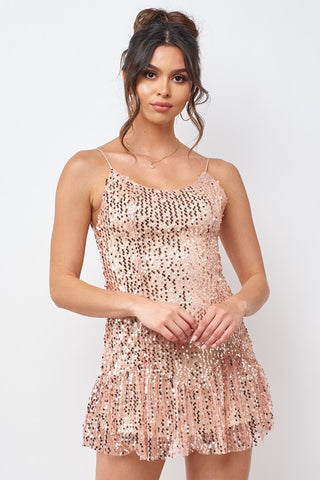 Fashion Strap Rose Gold Sequence Ruffle Dress