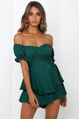 Elegant Off Shoulder Forest Green Satin Tie-Up Ruffle Romper