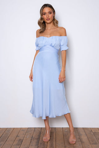 Elegant Off Shoulder Steel Blue Tie-Up Ruffle Maxi Dress